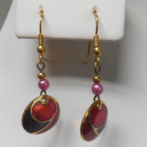 Gold tone & red dangle style pierced earrings